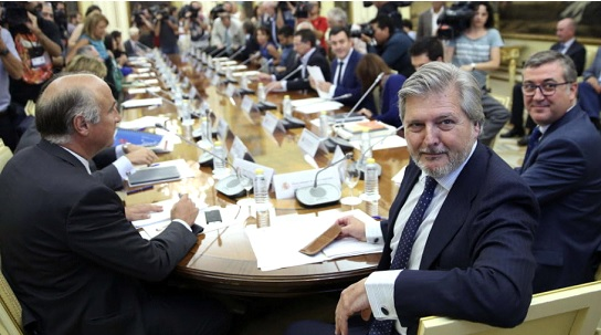 De Izquierda a Derecha. D. Fernando Benzo (Subsecretario), D. Iñigo Méndez de Vigo (Ministro) y Marcial Marín (Secretario de Estado) del Mº de Educación, Cultura y Deporte.
